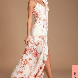 Lulus Crista Rust Orange & White Button-Front Maxi